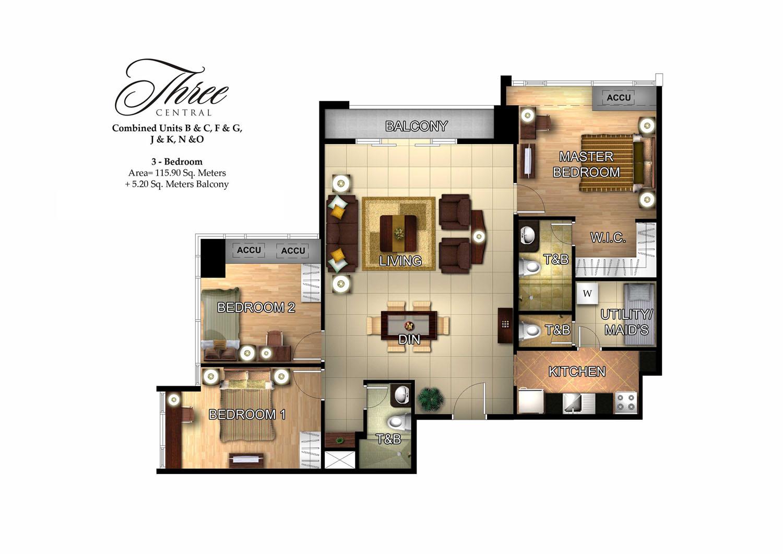 3 Bedroom Condo 3 Bedroom Pre Furnished Condo In Three