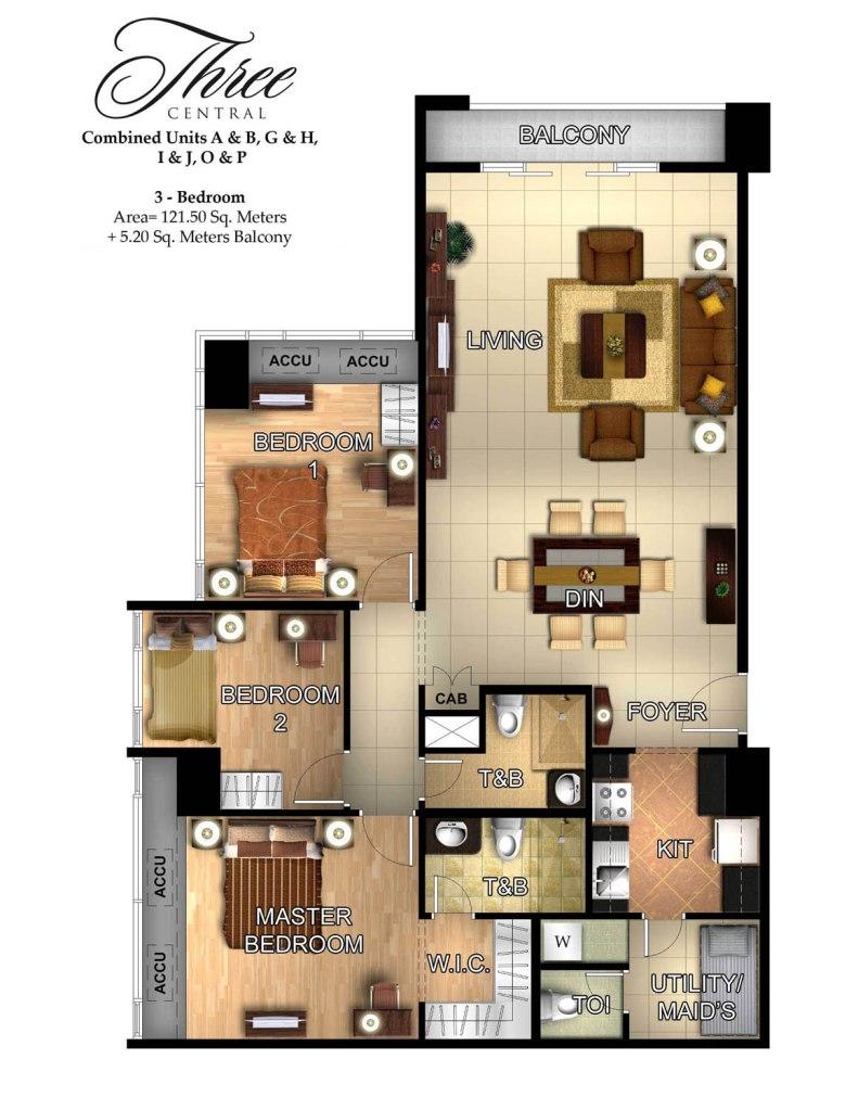 3 Bedroom Condos In Panama City Beach: 3-Bedroom Pre-furnished Condo In Three Central (Makati CBD